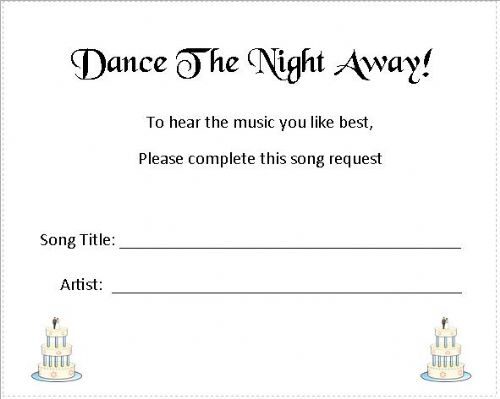 Wedding Music Song Request Cards - Wedding Cake Design - set of 24